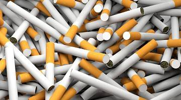 A close-up of scattered cigarettes