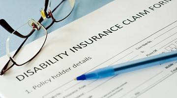 Closeup of disability insurance claim form