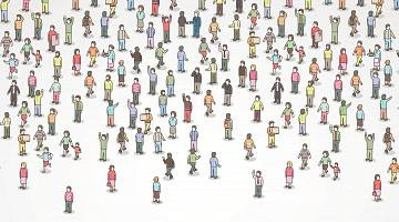 Illustration of many different people, miniature size