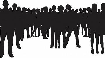 Silhouettes of many people in groups