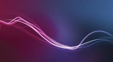 Wavy neon lines against a spacey backdrop in purple and blue