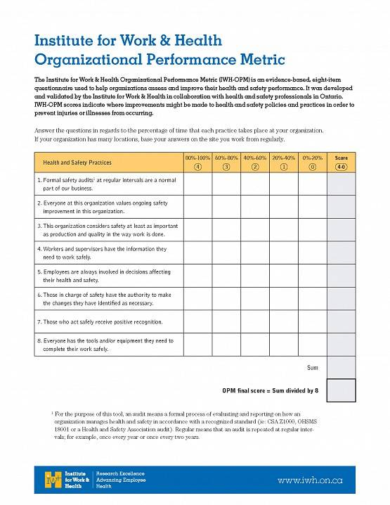 First page of I W H Organizational Performance Metric eight-item measure