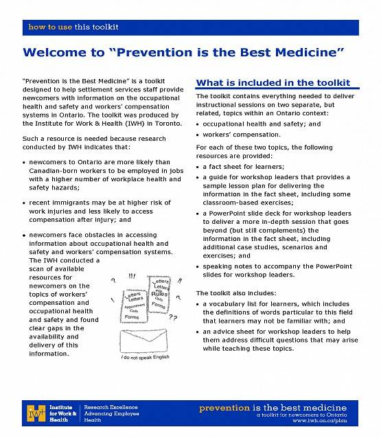 First page of How to Use this Guide in the Prevention is the Best Medicine toolkit