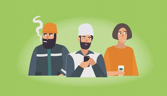 Illustration of three workers, two of whom are smoking