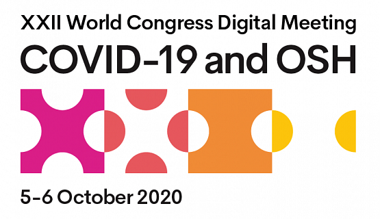 Logo for World Congress COVID-19 and occupational safety and health digital meeting in October 2020