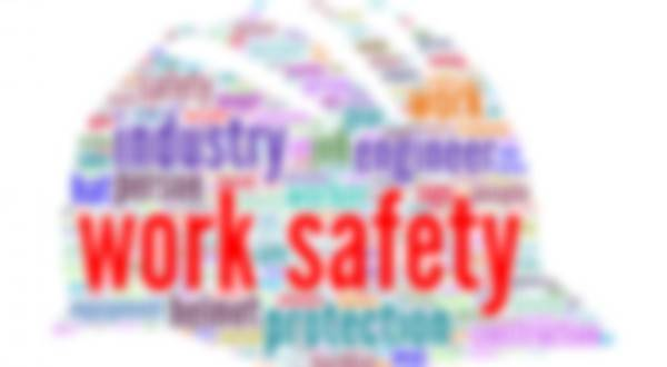 A word cloud in the shape of a hardhat focusing on work safety